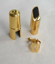 Soprano Sax Saxophone Metal Mouthpiece  with Cap and Ligature Golden Plated NEW