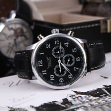 Fashion Automatic Mechanical Analog Dial 6 Hands Sport Leather Wrist Watch Men