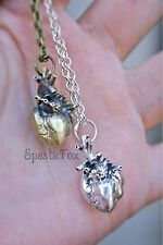 ¤ Human Anatomy heart!zombie.real Anatomical.SteamPunk.Silver.Bronze.Necklace 3D