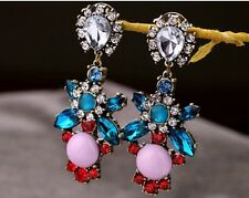 Ms Gift Bohemia Colorful Resin Drop Crystal Flower Dangle Earring Stud