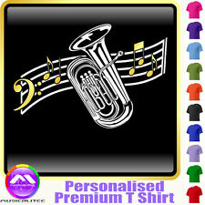 Tuba Curved Stave - Personalised Music T Shirt 5yrs-6XL MusicaliTee 2