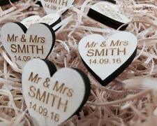 Personalised Wooden Heart Table Decorations, Rustic, Vintage Wedding Favours. 6m