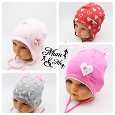 NEW Cute Kids Baby Girls Hats Cotton Infant Cap Lace Up Beanie Stretchy Floral