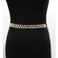 Women Full Metal Chain Waist Rhinestone Circle Belt Stretch Gold Silver Wedding