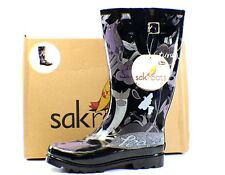 Sak Roots Womens Rain Snow Rubber Lined Boots Black Tonal Peace in 6 7 8 9 or 10