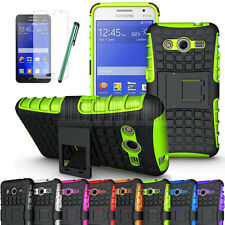 Rugged Armor Hybrid Hard Stand Case Cover For Samsung Galaxy Core 2 G355H+Film