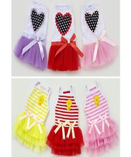 New small girl dog pet clothes apparel bowtie gauze summer princess dress skirt