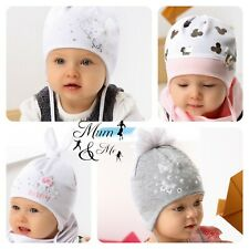 NEW Girls Hats Baby Toddler Aviator Cap Cotton Flower Striped Spring Lace Up Cap