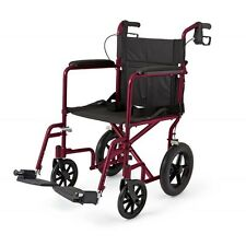 "Medline Lightweight Deluxe Transport Chair with 12"" Rear Wheels Wheelchair"