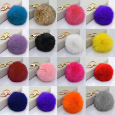 Hot Genuine PomPom Ball Car Keychain Handbag Charm Rabbit Fur Key Ring