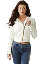 NIB GUESS Tweed & Faux leather Quilted Asymmetrical Zip Moto Jacket White XS, S