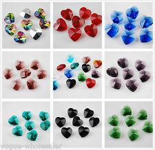 Free Ship 50pcs14mm Heart-Shaped Crystal Glass Pandents Findings Charm Beads