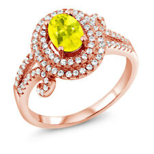2.20 Ct Oval Canary Mystic Topaz 925 Rose Gold Plated Silver Ring