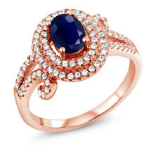 2.27 Ct Oval Blue Sapphire 925 Rose Gold Plated Silver Ring