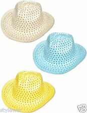 Brand New Kids Summer Hats Easter Bonnet Boys Cowboy Style Hat Yellow,Blue White