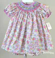 NWT Petit Ami Pink Smocked Paisley Bishop Dress 12 18 24 Months Baby Girls