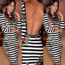 New Womens Ladies Low Back Midi Bodycon Strip Pencil Party Backless Dress