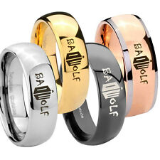 Classic Dome Doctor Who Time Sci Fi Glossy Tungsten 8MM Wedding Ring Sz 7-14