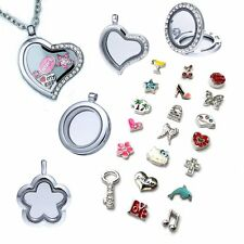 Living Memory Floating Locket Love Heart Round Charm Gold/Silver Necklace Gift