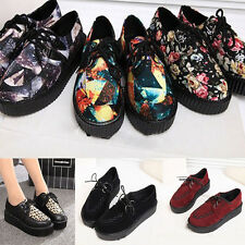 Women Ladies Fashion Flat Platform Wedge Lace Up Creepers Punk Goth Shoes Boots
