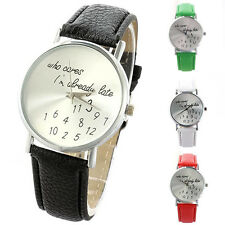 "Women Delicate ""Who Cares"" Faux Leather Band Quartz Date Round Dial Analog Watch"