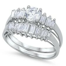 Sterling Silver Round Cut Clear CZ Engagement Wedding Ring Set Sz 6 7 8 9 10 NEW