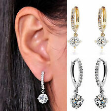 Sparkle Women Silver/Gold Plated Crystal Rhinestone Stud Earrings Hoop Jewelry