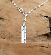 LT BLUE Ribbon Awareness Necklace Infinity LARIAT, Strength & Support Gift #LR5