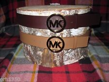 NWT Authentic Michael Kors Round MK Logo Belt Gofd Buckle