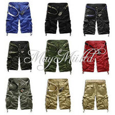 Men's Casual Short Cargo Combat Camo Camouflage Overall Shorts Sports Pants O