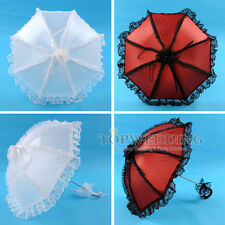 "25"" Victorian Art Ruffled Lace Sun Parasol Vintage Wedding Bridal Party Umbrella"