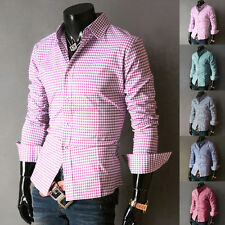 New Grids Mens Luxury Casual Shirts Formal Slim Fit Long Sleeve Dress Shirt Tops