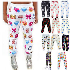 Women Men Emoji Style Print Pants Funny Cartoon Sweatpants Long Joggers Trousers