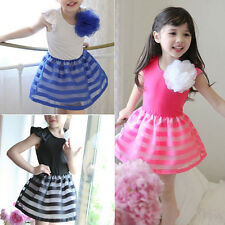 Stylish Kids Skirt Baby Girls Summer Sleeveless Floral Tutu Organza Party Dress
