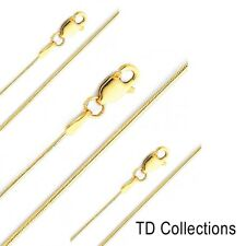 0.7mm Solid Round Snake Chain Necklace Real 14K Yellow Gold Size 16' 22'
