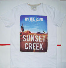 New Men's Exclusive Sunset Creek Casual White T-shirts Fashion S M L