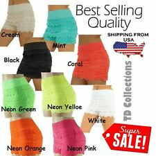 Sweet Womens Korean Crochet Tiered Lace Floral Shorts Skorts Cotton Blend, TD