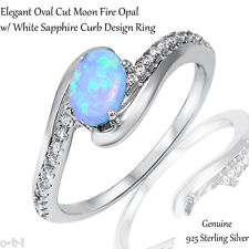 Elegant Oval Light Blue Fire Opal White Sapphire CZ Genuine Sterling Silver Ring