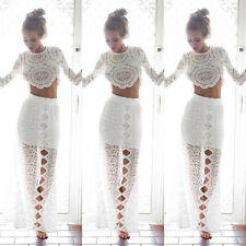 Women's Sexy Lace Floral Party Short Bodycon Crop Tops T-Shirt Blouse