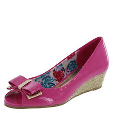 Liv and Maddie Girl's Shoes PATENT PEEP Wedge HOT PINK