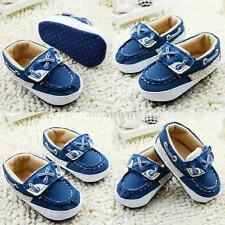 Infant Baby Boys Blue Soft Sole Crib Shoes Sneakers Size Newborn to 18Months A27