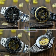 Fashion Casual Mens Steampunk Auto Double Skeleton Mechanical Dress Wrist Watch