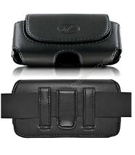 Leather Sideways Belt Clip Case Pouch Magnetic Closure for Motorola Cell Phones