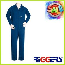 3 x RIGGERS Heavyweight Cotton Drill Long Sleeve Overalls Coveralls Mid Blue