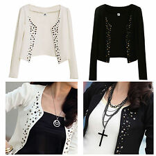 New Fashion Women's Punk Rivets Cotton Office Suit Blazer Wrap Cardigan Coat