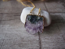 Amethyst Drusy Druzy Gemstone Gem Golden Pendant Statement Necklace