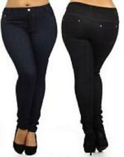 Plus Size Jeggings Leggings Jeans Black L/XL XXL Rhinestone Pockets Pencil Pants