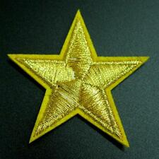 Gold Star Iron on Sew Patch Applique Badge Embroidered Biker Applique
