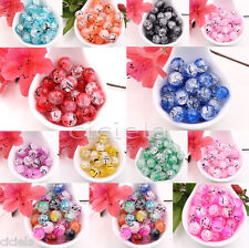 Czech Drawbench Crackle Floral Craft Glass Loose Spacer Round Beads Jewelry DIY