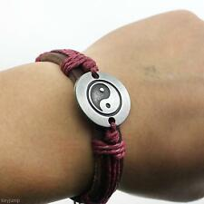 Unisex Retro PU Leather Hemp Rope Weave Insert Tai Chi Alloy Wrist Band Bracelet